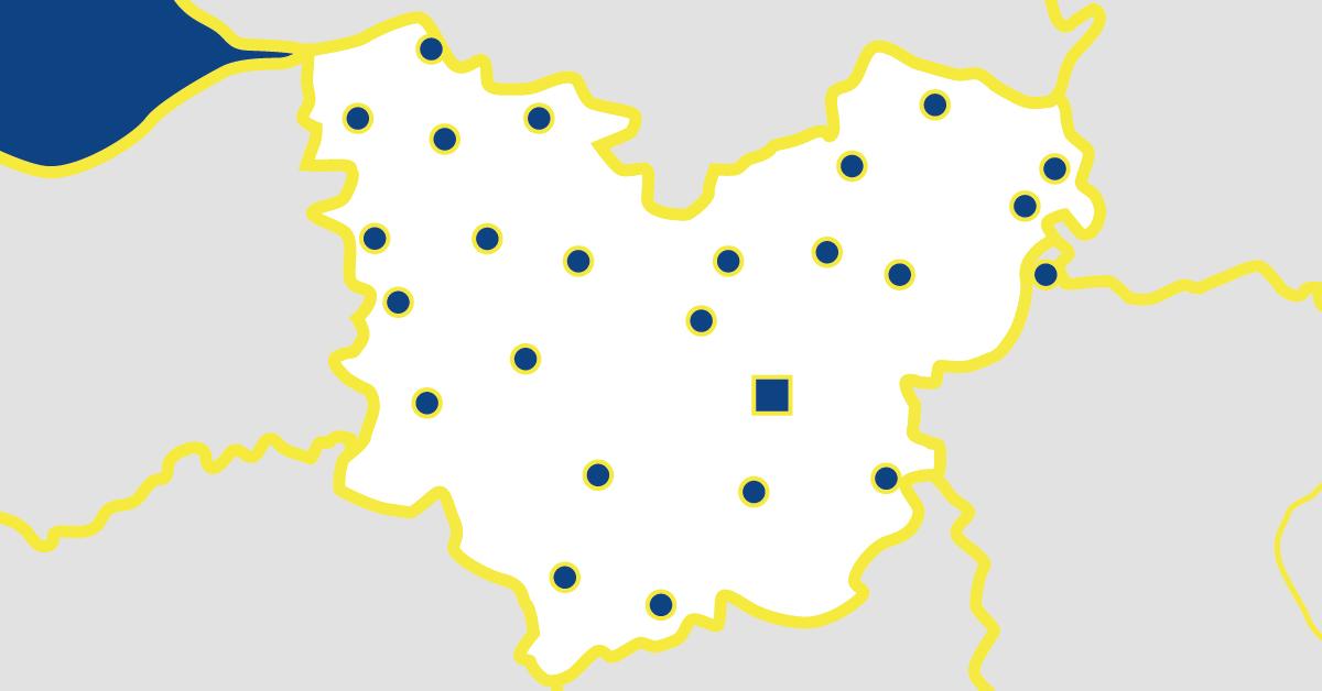 Carte départementale de l'Eure en Normandie