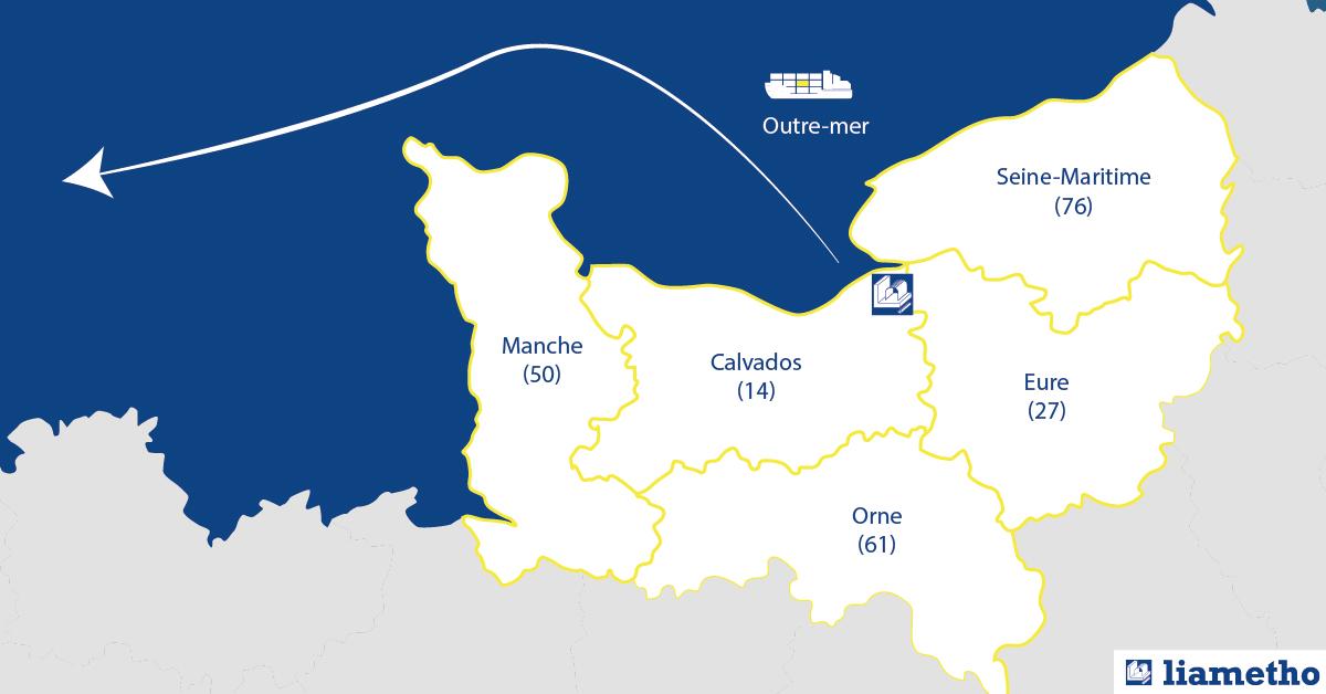 Carte de livraison d'acier en Normandie et outremer